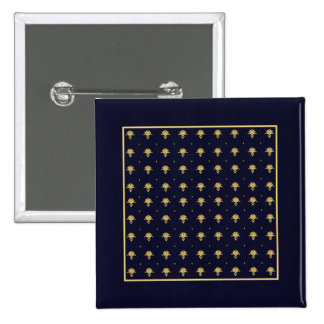 Elegant Navy Blue and Gold Damask Pinback Button