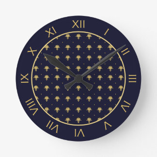 Elegant Navy Blue and Gold Damask Round Wall Clock