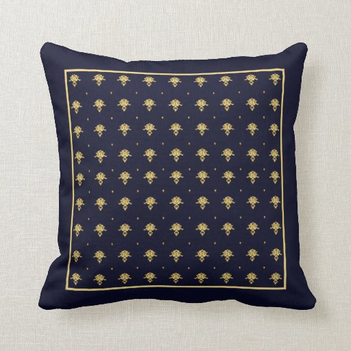 Elegant navy blue and gold damask square border pillows for Blue and gold pillows