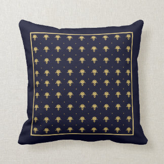 Elegant Navy Blue and Gold Damask Square Border Throw Pillow