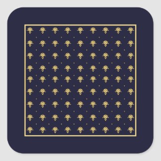Elegant Navy Blue and Gold Damask Square Stickers