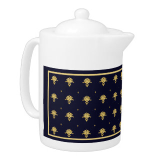 Elegant Navy Blue and Gold Damask Teapot