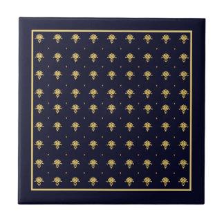 Elegant Navy Blue and Gold Damask Ceramic Tiles