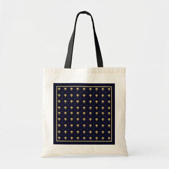 Elegant Navy Blue and Gold Damask Tote Bag