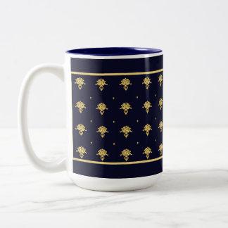 Elegant Navy Blue and Gold Damask Two-Tone Coffee Mug