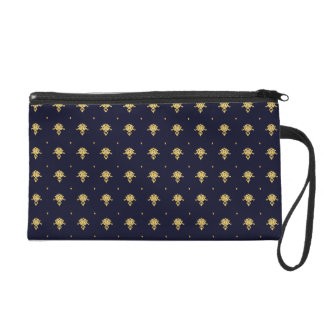 Elegant Navy Blue and Gold Damask Wristlet