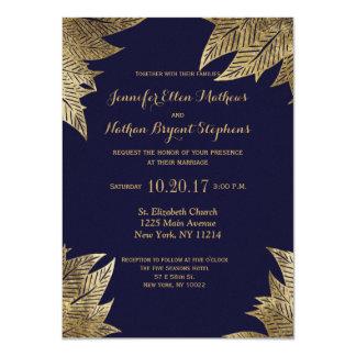 Elegant Navy Blue and Gold Faux Drawn Leaf Pattern Card
