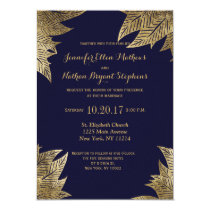 Elegant Navy Blue and Gold Faux Drawn Leaf Pattern Invitation