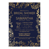 Elegant Navy Blue and Gold Floral Bridal Shower Card