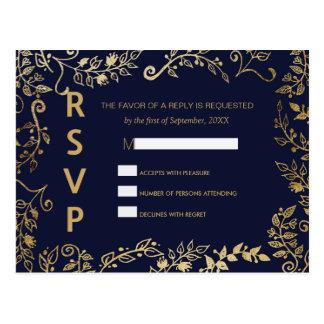 Elegant Navy Blue and Gold Floral RSVP Postcards