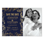 Elegant Navy Blue and Gold Floral Save the Dates Card