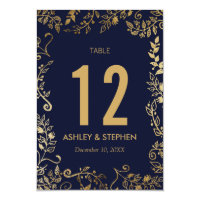 Elegant Navy Blue and Gold Floral Table Numbers