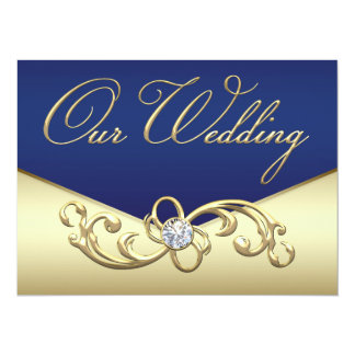 Elegant Navy Blue and Gold Wedding Card