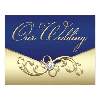 Elegant Navy Blue and Gold Wedding Invitation