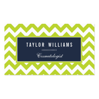 Elegant, Navy Blue and Lime Green Chevron Business Card