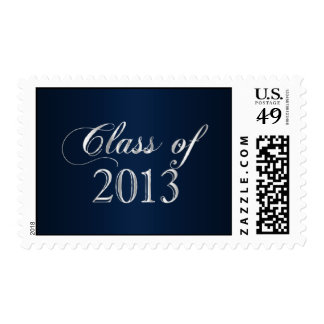 Elegant Navy Blue and Silver Class of 2013 Stamp
