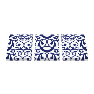 Elegant Navy Blue and White Canvas Wall Art