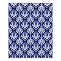 Elegant Navy Blue and White Damask Pattern Flyer
