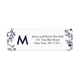 Elegant Navy Blue and White Floral Address Labels