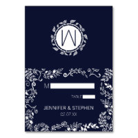 Elegant Navy Blue and White Floral Place Cards