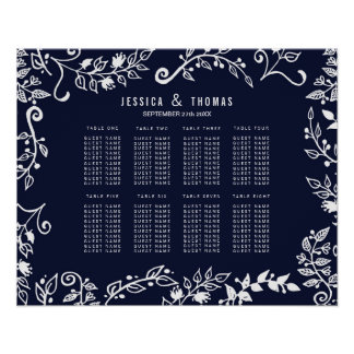 Elegant Navy Blue and White Floral Seating Chart
