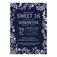 Elegant Navy Blue and White Floral Sweet 16 Card
