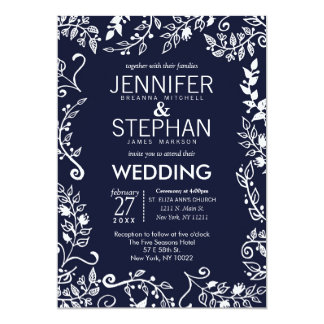 Elegant Navy Blue and White Floral Wedding Invites