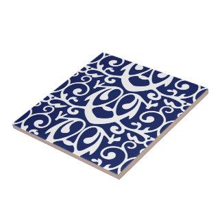 Elegant Navy Blue and White Pattern Ceramic Tile
