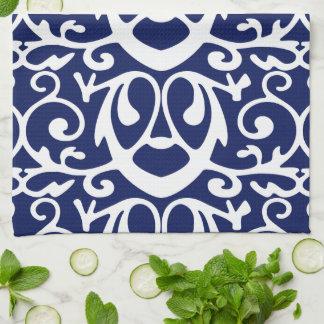 Elegant Navy Blue And White Pattern Kitchen Towels