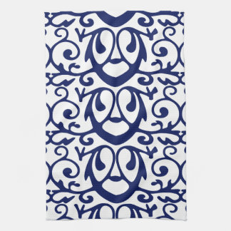 Beautiful Elegant Navy Blue And White Pattern Kitchen Towels