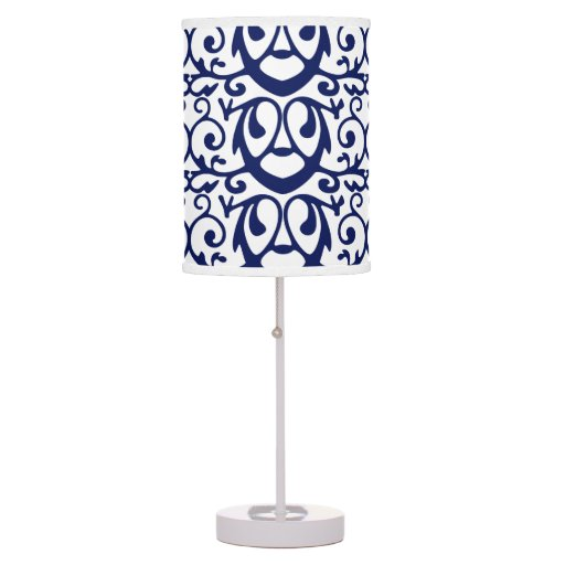 elegant navy blue and white table lamp zazzle. Black Bedroom Furniture Sets. Home Design Ideas