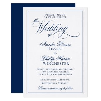 Elegant Navy Blue and White Wedding Invitation