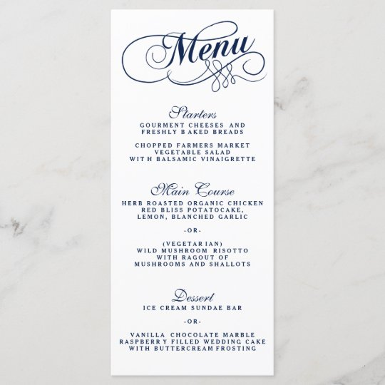Elegant Navy Blue And White Wedding Menu Templates  733ef24c4a