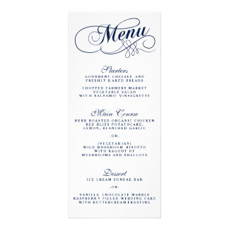 Elegant Navy Blue And White Wedding Menu Templates