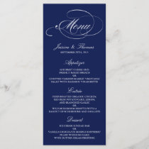 Elegant Navy Blue And White Wedding Menu Templates
