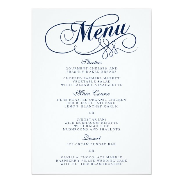 Elegant Navy Blue And White Wedding Menu Templates Card ...