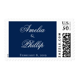 Elegant Navy Blue and White Wedding Postage