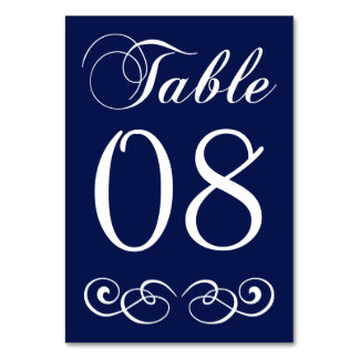 Elegant Navy Blue And White Wedding Table Number