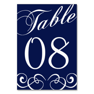 Elegant Navy Blue And White Wedding Table Number Card