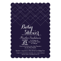 Elegant Navy Blue Art Deco Geometric Pattern Card