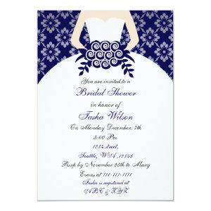 Elegant navy blue Bridal Shower Invitation 5