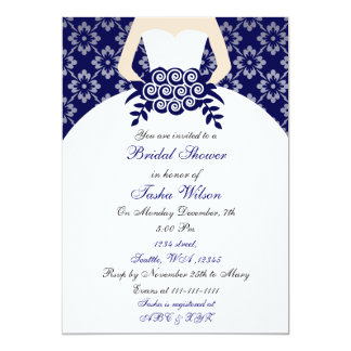 "Elegant navy blue Bridal Shower Invitation 5"" X 7"" Invitation Card"