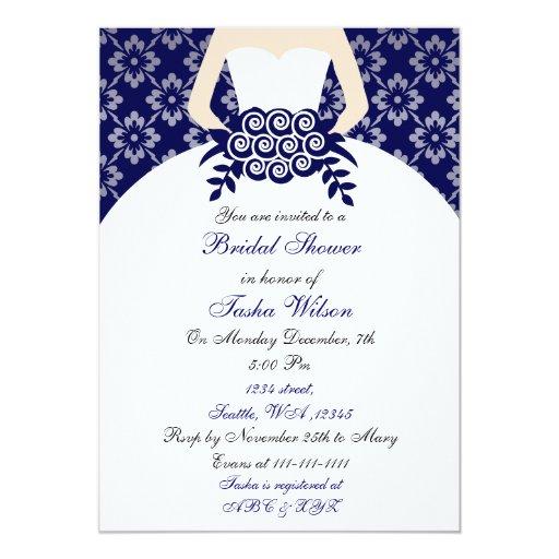Elegant navy blue bridal shower invitation for Elegant bridal shower invitations