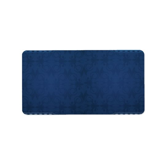 Elegant navy blue damask label