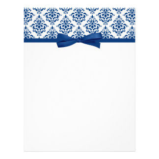 Elegant Navy Blue Damask Ribbon Bow Letterhead