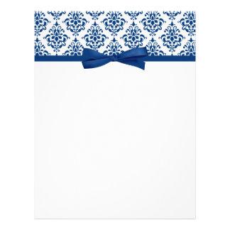 Elegant Navy Blue Damask Ribbon Bow Letterhead