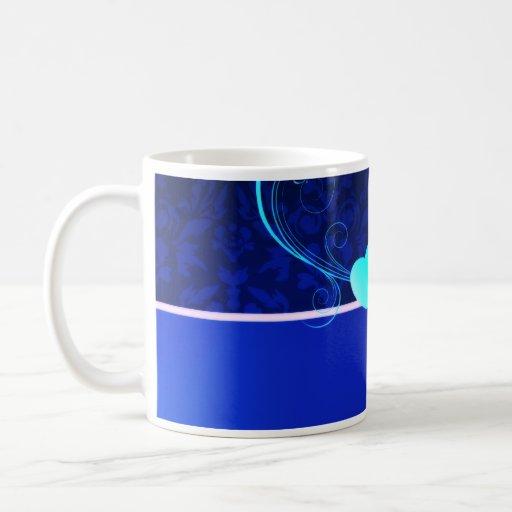 Elegant navy blue damask wedding gift mugs