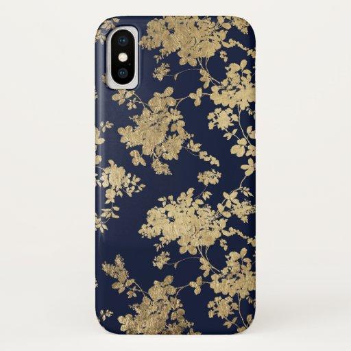 Elegant navy blue faux gold vintage flowers iPhone XS case