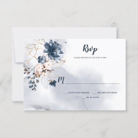 Elegant Navy Blue Floral Gold Sketched Roses | RSVP Card