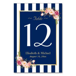 Elegant Navy Blue Floral Wedding Table Number Card